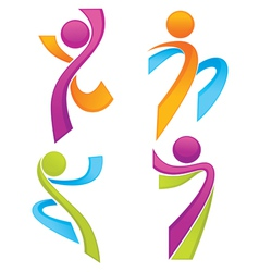 sportive people symbols look like ribbons vector image