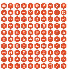 100 journey icons hexagon orange vector
