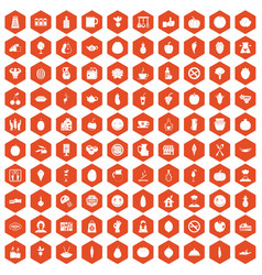100 vegetarian cafe icons hexagon orange vector