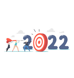 2022 new year goal achievement concept tiny vector image