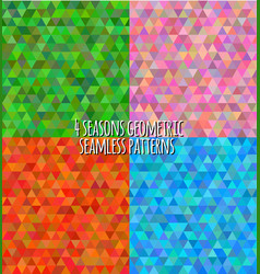4 seasons geometric seasons patterns vector