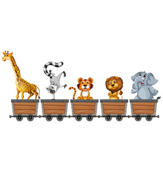 Animals in mining carts vector
