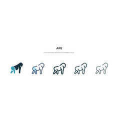 Ape icon in different style two colored vector