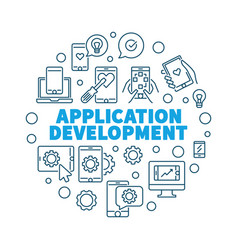Application development round concept vector