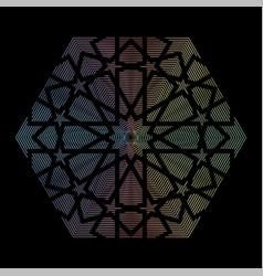Arabic hologram sticker on black background label vector