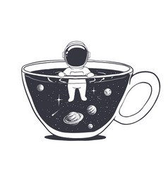 Astronaut swims in a cup with space vector
