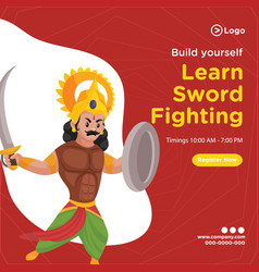 Banner design learn sword fighting vector
