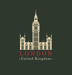 Banner with big ben in london united kingdom uk vector