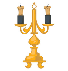 Baroque style candlestick with wax candles vector