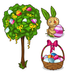 Basket with easter eggs bunny and festive tree vector