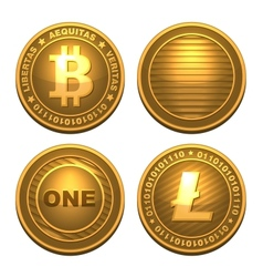 Bitcoin and Litecoin isolated on white vector