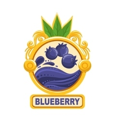 Blueberry Bright Color Jam Label Sticker Template vector