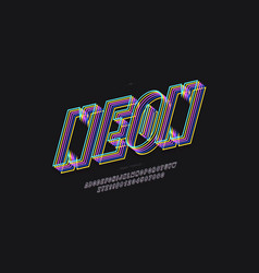 bold neon font modern style vector image