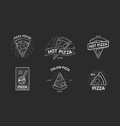 bundle of monochrome logotypes with pizza slices vector image