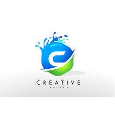 C letter logo blue green splash design vector