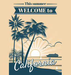 California republic poster with palm trees vector