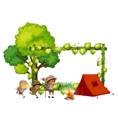 Camping kids frame template vector