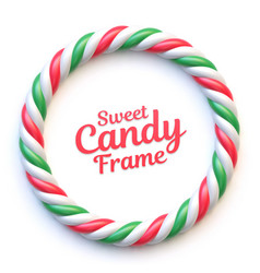 candy cane circle frame on white background vector image