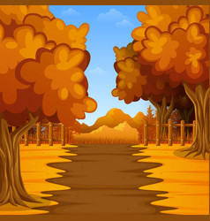 Cartoon autumn landscape with mountains vector