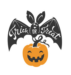 Cartoon flying bat with spread wings and trick or vector
