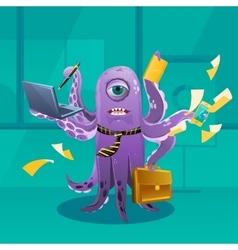 Cartoon Octopus Moster as a Boss vector