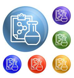chemical flask formula icons set vector image