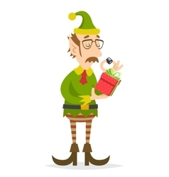 Christmas Elf Gift Character Quality Check Process vector image