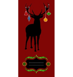 Christmas reindeer silhouette greeting card vector image