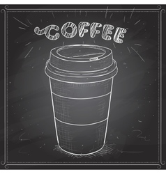 Coffee to go scetch on a black board vector