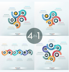 Collection of 4 infographic design templates vector