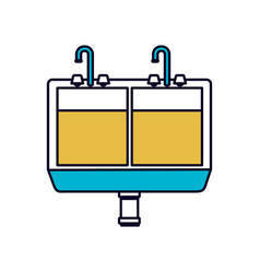 Color sections silhouette of kitchen sink vector