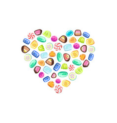 Colorful sweetmeats in heart shape candy shop vector