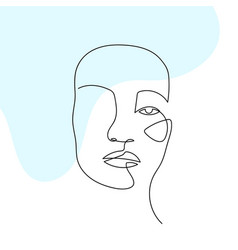 Continuous line abstract face contemporary vector