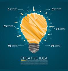 Creative idea of origami lamp vector