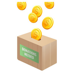 donations needed sign on wooden box with gold vector image