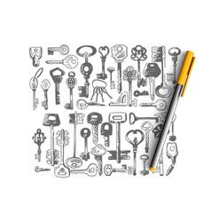 door keys doodle set collection vector image
