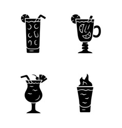 Drinks glyph icons set cocktail in highball glass vector