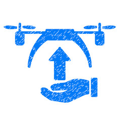 Drone takeoff grunge icon vector