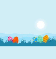Easter egg on hill landscape vector