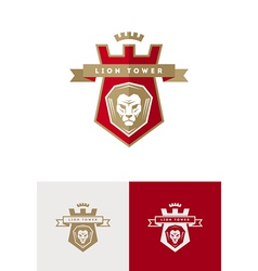 emblem with lion head vector image