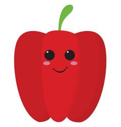 Emoji smiling red bell peppercartoon vector