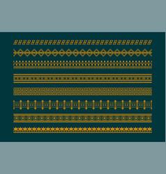Ethnic boho style borders pattern set vector