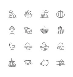 farm icons agricultural objects agrarian farm vector image