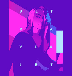 Fashion portrait of a model girl and neon light vector