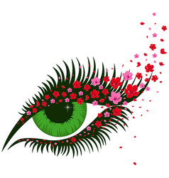 Female green eye with small pink sakura flowers vector