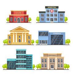 Flat city buildings contemporary office center vector