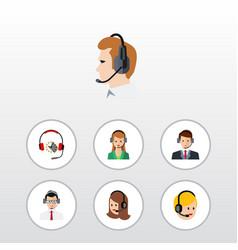 Flat hotline set of service secretary call vector