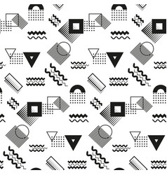 geometric shapes seamless pattern black and white vector image