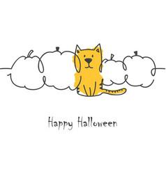 halloween cat and pumpkins vector image