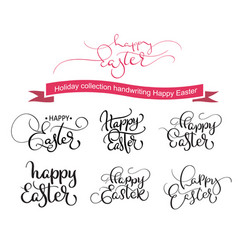 happy easter handwritting words on white vector image